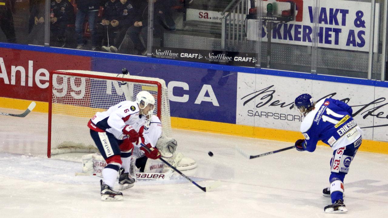 Patrick Eriksson setter inn sitt første av to for kvelden. (Foto: Dagfinn Heidenberg)